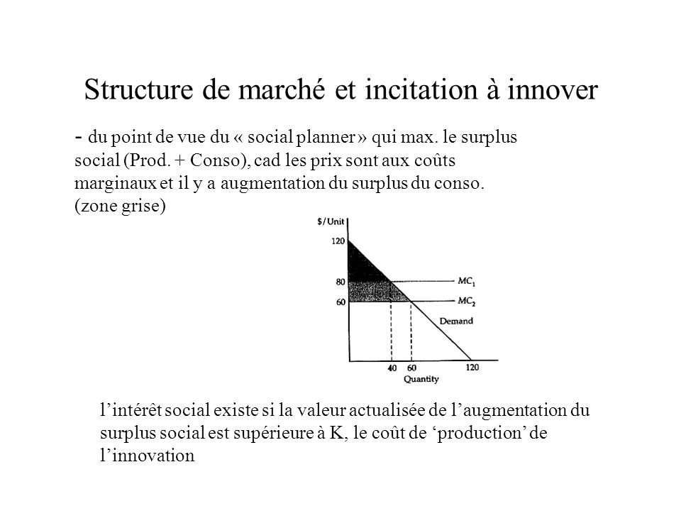 Lhypothèse Schumpéterienne: arguments théoriques et empiriques Concentration - Innovation (mesurée par inputs) Relation entre dépenses R&D et concentration (C 4 ) faible en soi Scherer (1980): introduction des opportunités technologiques (ou le contexte technologique des industries) -la concentration a un effet favorable sur les dépenses de R&D des industries à faibles opportunités technologiques et moins favorable sur les industries à fortes opportunités (il peut être même négatif) Levin, Cohen, Mowery (1985): introduction des conditions dappropriation de loutput de la R&D