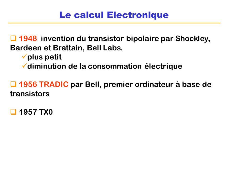 Le calcul Electronique 1948 invention du transistor bipolaire par Shockley, Bardeen et Brattain, Bell Labs. plus petit diminution de la consommation é