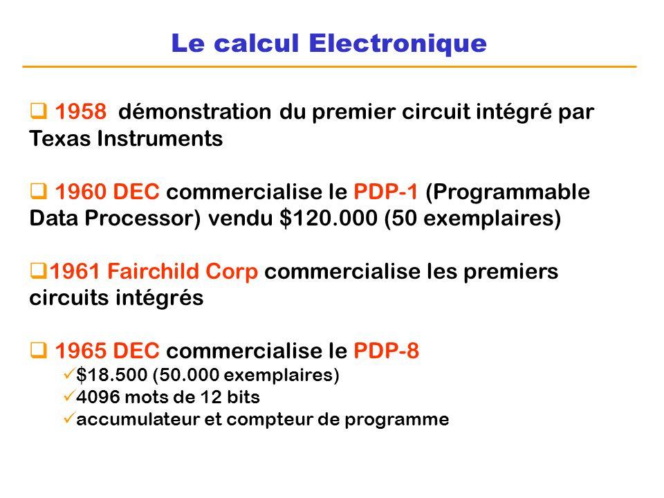 Le calcul Electronique 1958 démonstration du premier circuit intégré par Texas Instruments 1960 DEC commercialise le PDP-1 (Programmable Data Processo