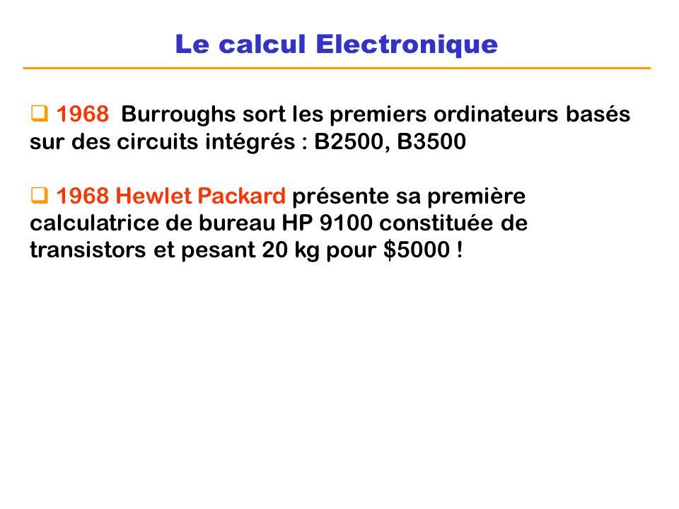 Le calcul Electronique 1968 Burroughs sort les premiers ordinateurs basés sur des circuits intégrés : B2500, B3500 1968 Hewlet Packard présente sa pre