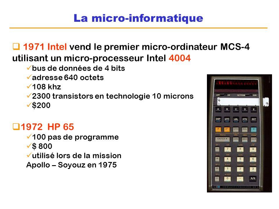 La micro-informatique 1971 Intel vend le premier micro-ordinateur MCS-4 utilisant un micro-processeur Intel 4004 bus de données de 4 bits adresse 640