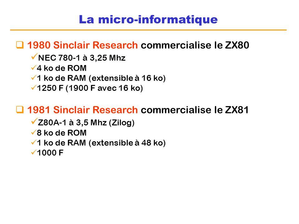 La micro-informatique 1980 Sinclair Research commercialise le ZX80 NEC 780-1 à 3,25 Mhz 4 ko de ROM 1 ko de RAM (extensible à 16 ko) 1250 F (1900 F av