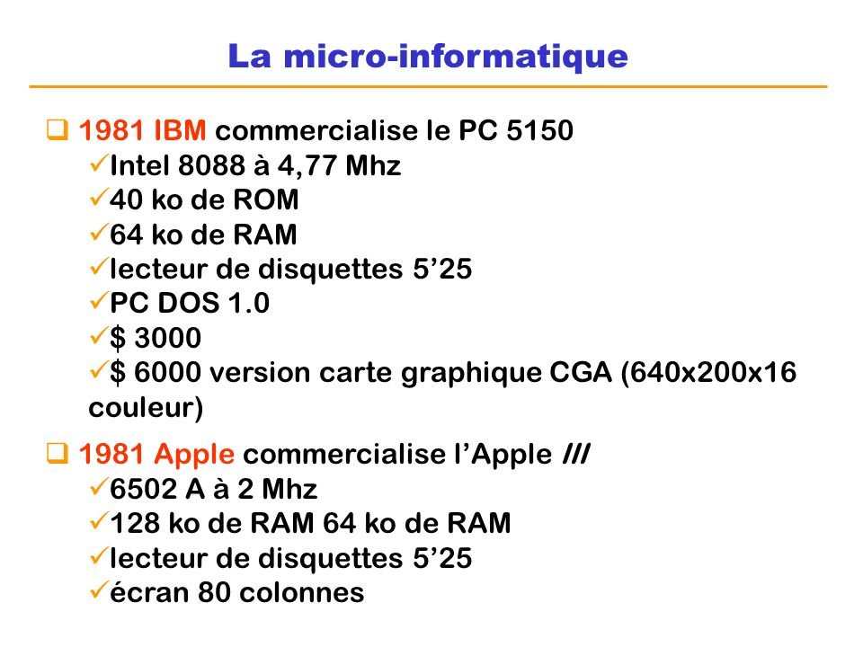 La micro-informatique 1981 IBM commercialise le PC 5150 Intel 8088 à 4,77 Mhz 40 ko de ROM 64 ko de RAM lecteur de disquettes 525 PC DOS 1.0 $ 3000 $