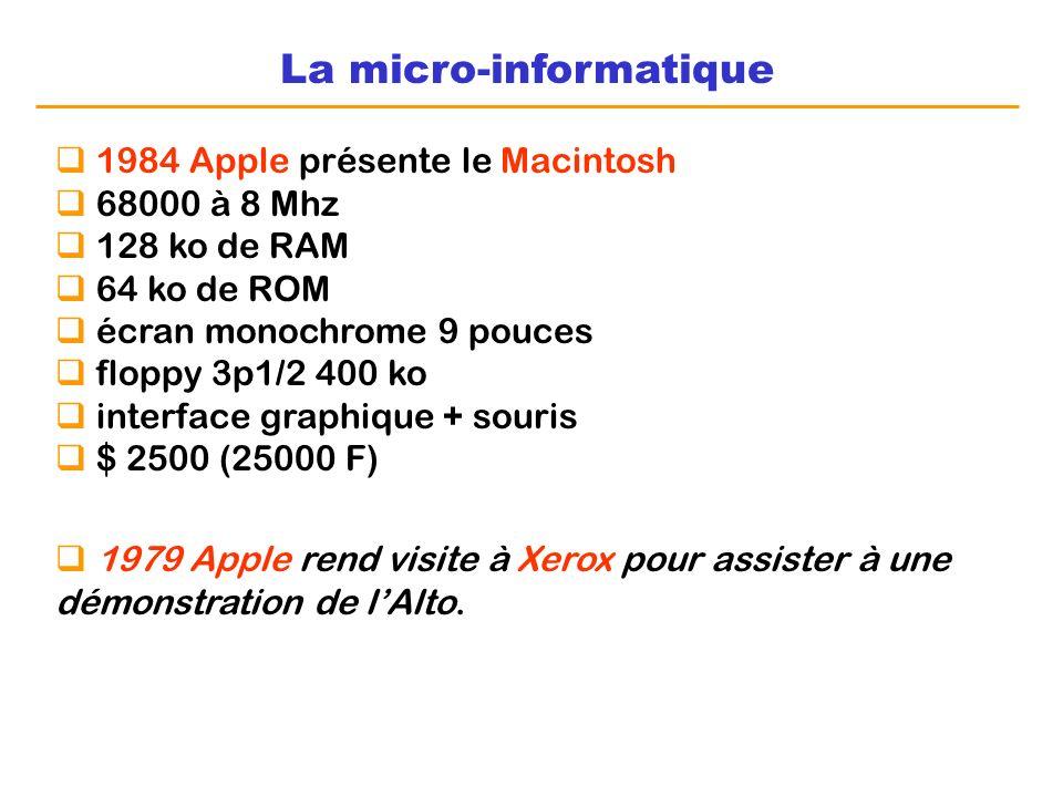 La micro-informatique 1984 Apple présente le Macintosh 68000 à 8 Mhz 128 ko de RAM 64 ko de ROM écran monochrome 9 pouces floppy 3p1/2 400 ko interfac