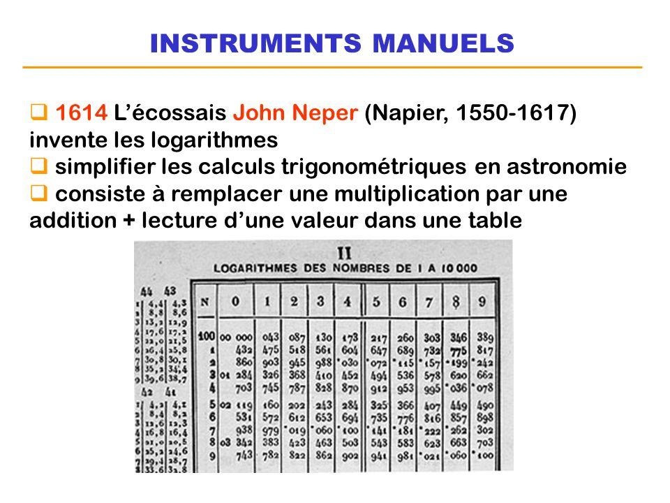 INSTRUMENTS MANUELS 1614 Lécossais John Neper (Napier, 1550-1617) invente les logarithmes simplifier les calculs trigonométriques en astronomie consis