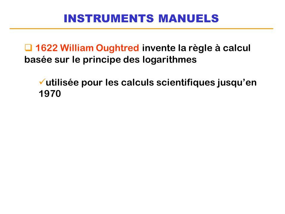 INSTRUMENTS MANUELS 1622 William Oughtred invente la règle à calcul basée sur le principe des logarithmes utilisée pour les calculs scientifiques jusq