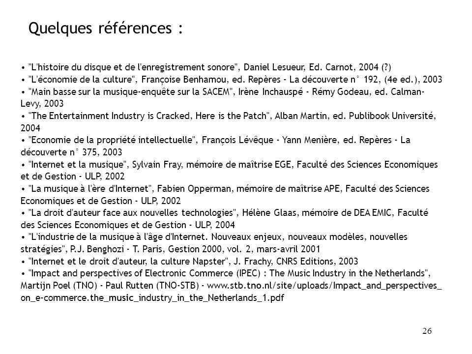 25 « pool »de brevets (licences croisées) entre entreprises pour protéger la norme MPEG-2 Entente= pratique anti-concurrentielle Accepté par la Federa