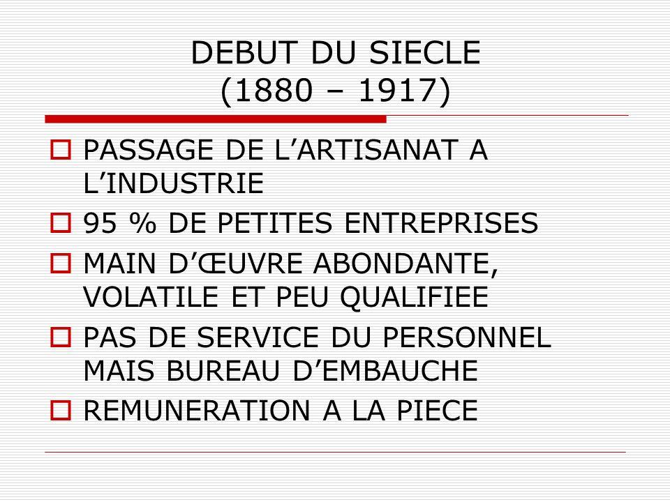 DEBUT DU SIECLE (1880 – 1917) PASSAGE DE LARTISANAT A LINDUSTRIE 95 % DE PETITES ENTREPRISES MAIN DŒUVRE ABONDANTE, VOLATILE ET PEU QUALIFIEE PAS DE SERVICE DU PERSONNEL MAIS BUREAU DEMBAUCHE REMUNERATION A LA PIECE