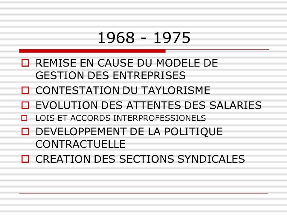 1968 - 1975 REMISE EN CAUSE DU MODELE DE GESTION DES ENTREPRISES CONTESTATION DU TAYLORISME EVOLUTION DES ATTENTES DES SALARIES LOIS ET ACCORDS INTERP