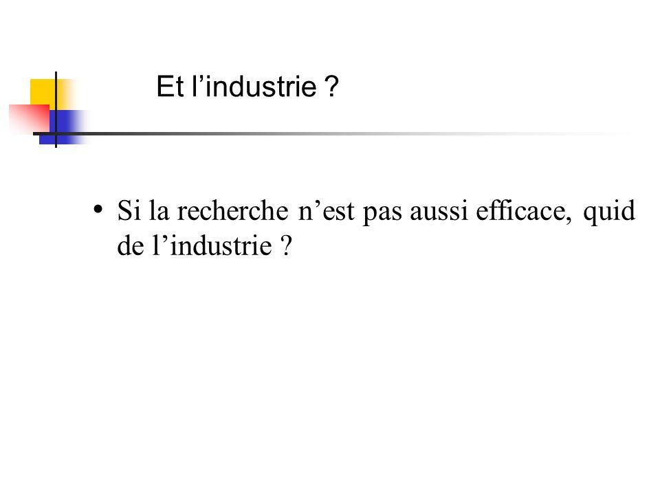 Et lindustrie ? Si la recherche nest pas aussi efficace, quid de lindustrie ?