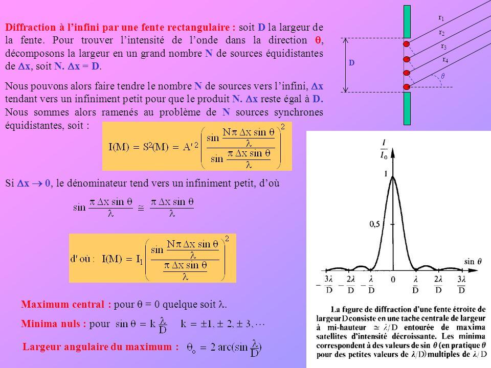 Diffraction à linfini par une fente rectangulaire : soit D la largeur de la fente. Pour trouver lintensité de londe dans la direction, décomposons la