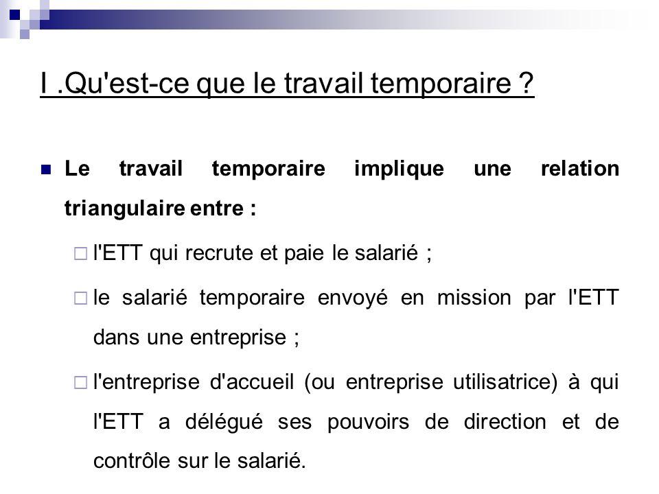 I.Qu est-ce que le travail temporaire .