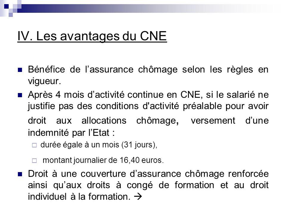 IV.Les avantages du CNE Bénéfice de lassurance chômage selon les règles en vigueur.