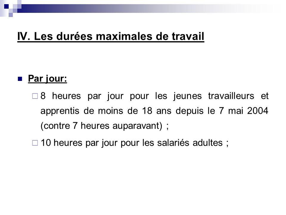 Par jour: 8 heures par jour pour les jeunes travailleurs et apprentis de moins de 18 ans depuis le 7 mai 2004 (contre 7 heures auparavant) ; 10 heures