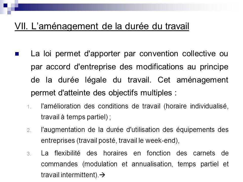 VII. Laménagement de la durée du travail La loi permet d'apporter par convention collective ou par accord d'entreprise des modifications au principe d