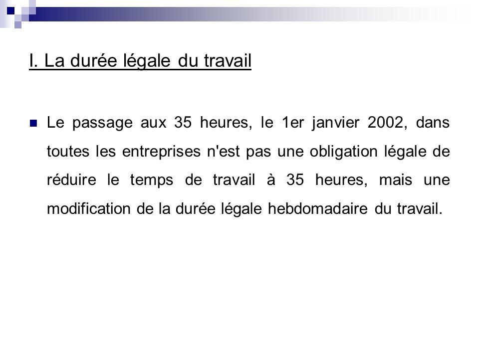 I. La durée légale du travail Le passage aux 35 heures, le 1er janvier 2002, dans toutes les entreprises n'est pas une obligation légale de réduire le