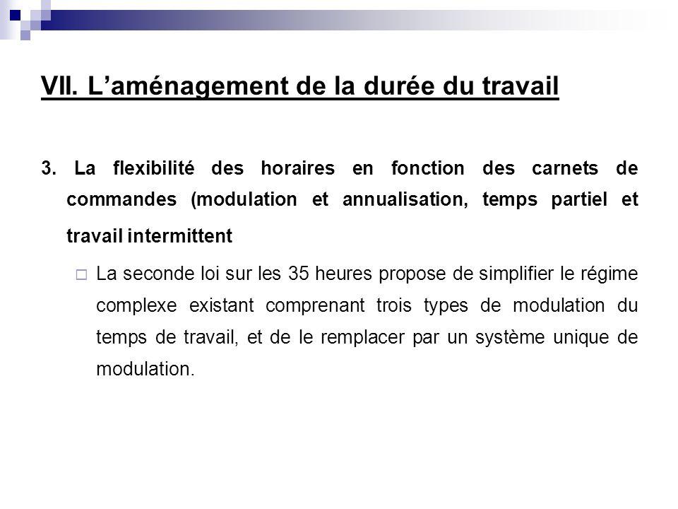 3. La flexibilité des horaires en fonction des carnets de commandes (modulation et annualisation, temps partiel et travail intermittent La seconde loi