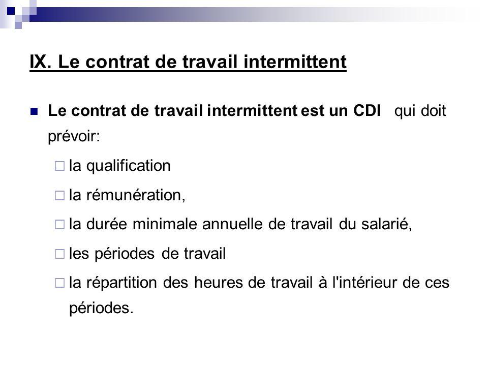 Le contrat de travail intermittent est un CDI qui doit prévoir: la qualification la rémunération, la durée minimale annuelle de travail du salarié, le