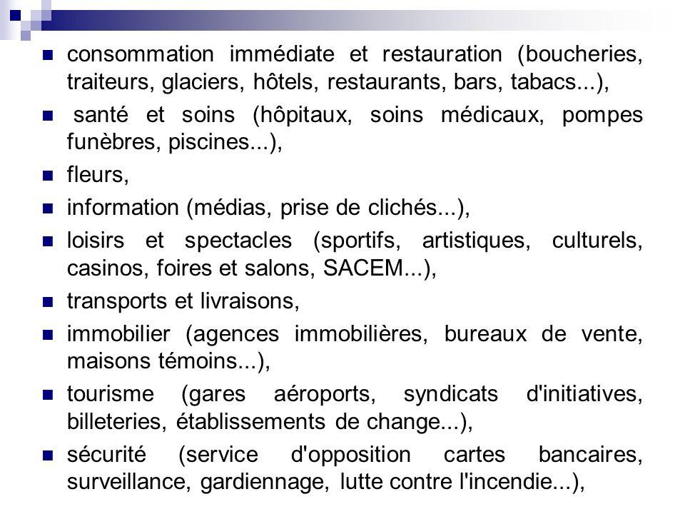 consommation immédiate et restauration (boucheries, traiteurs, glaciers, hôtels, restaurants, bars, tabacs...), santé et soins (hôpitaux, soins médi