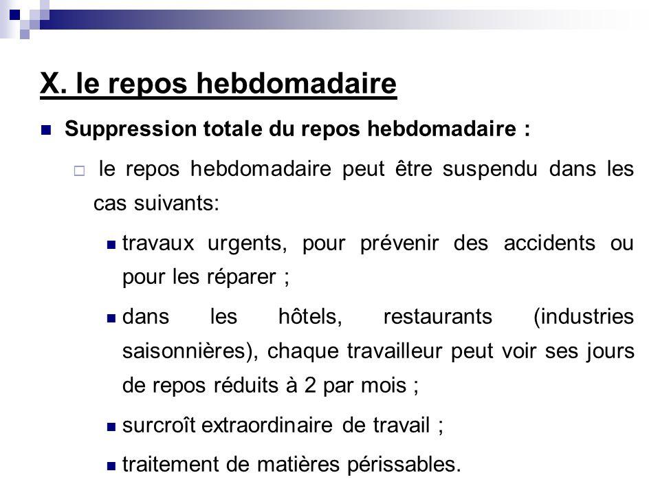 Suppression totale du repos hebdomadaire : le repos hebdomadaire peut être suspendu dans les cas suivants: travaux urgents, pour prévenir des accident
