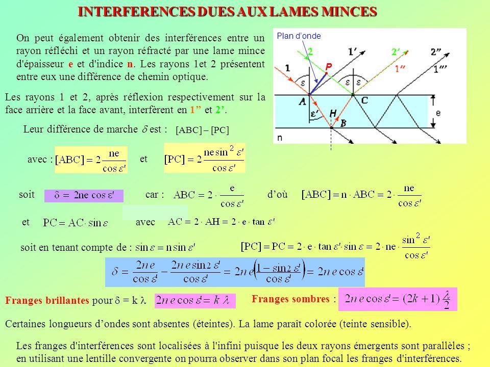INTERFERENCES DUES AUX LAMES MINCES Plan donde P H n On peut également obtenir des interférences entre un rayon réfléchi et un rayon réfracté par une