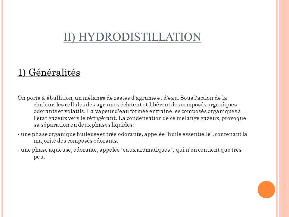 II) HYDRODISTILLATION 1) Généralités On porte à ébullition, un mélange de zestes d'agrume et d'eau. Sous l'action de la chaleur, les cellules des agru