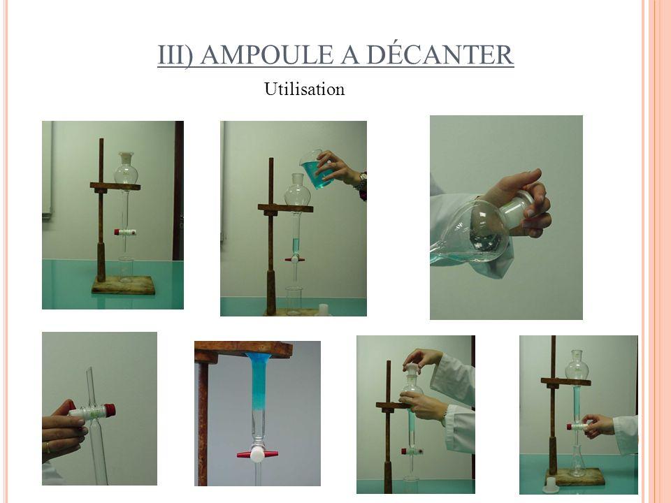 III) AMPOULE A DÉCANTER Utilisation