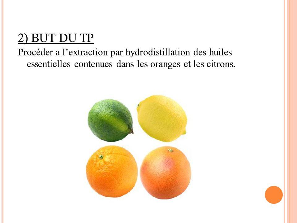 2) BUT DU TP Procéder a lextraction par hydrodistillation des huiles essentielles contenues dans les oranges et les citrons.