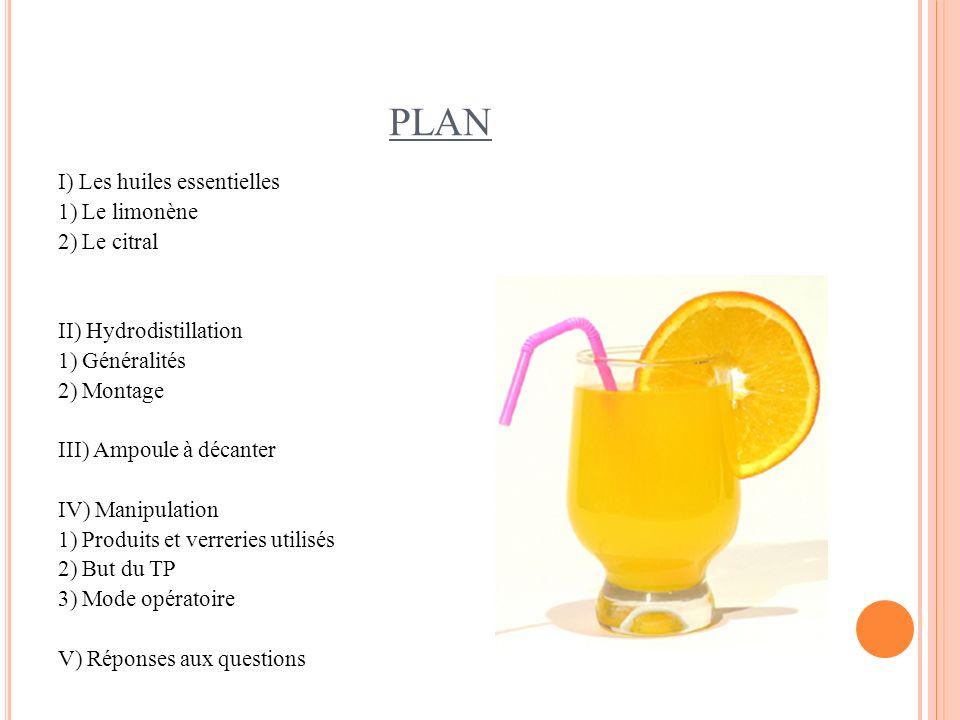 PLAN I) Les huiles essentielles 1) Le limonène 2) Le citral II) Hydrodistillation 1) Généralités 2) Montage III) Ampoule à décanter IV) Manipulation 1