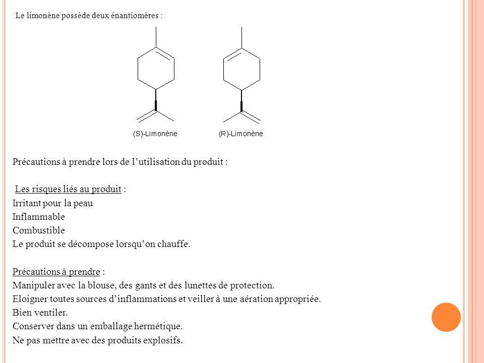 Le limonène possède deux énantiomères : Précautions à prendre lors de lutilisation du produit : Les risques liés au produit : Irritant pour la peau In