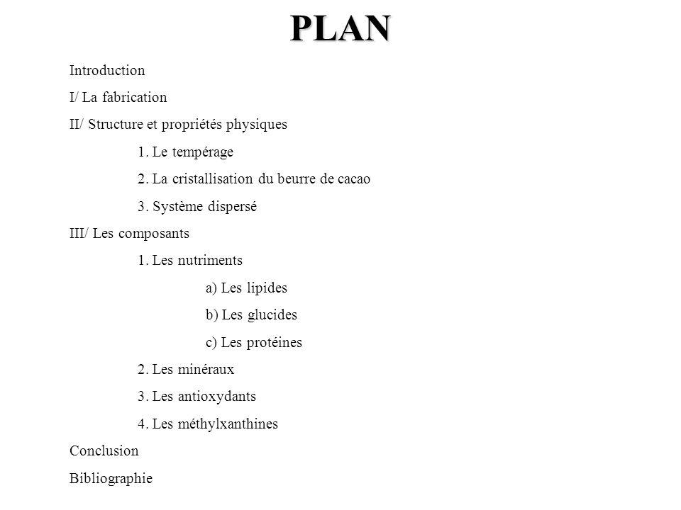 PLAN Introduction I/ La fabrication II/ Structure et propriétés physiques 1. Le tempérage 2. La cristallisation du beurre de cacao 3. Système dispersé