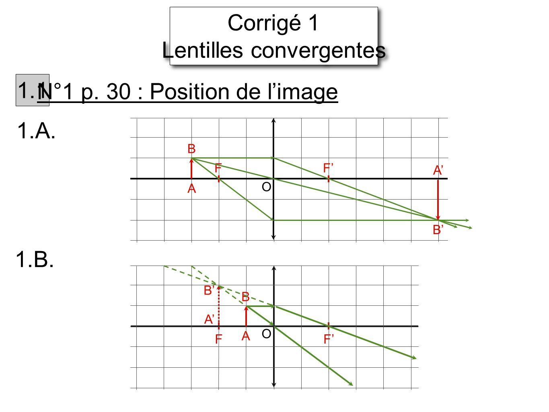 Corrigé 1 Lentilles convergentes Corrigé 1 Lentilles convergentes 1.1 N°1 p. 30 : Position de limage 1.A. FF A B B A O A B O FF 1.B. A B