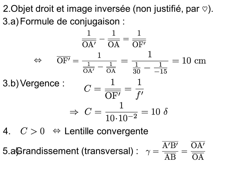 2. Objet droit et image inversée (non justifié, par ). 3.a)Formule de conjugaison : 5.a)Grandissement (transversal) : 3.b)Vergence : 4.Lentille conver