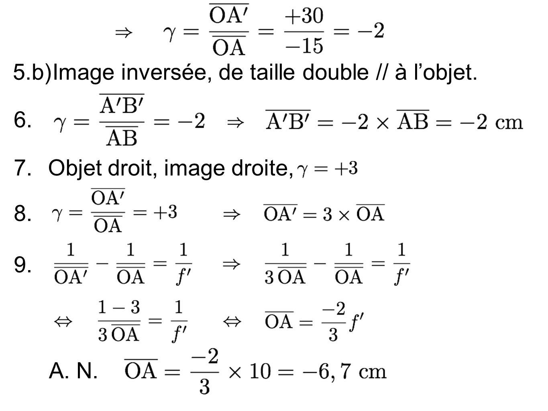5.b)Image inversée, de taille double // à lobjet. 7.Objet droit, image droite, 8. 9. 6. A. N.