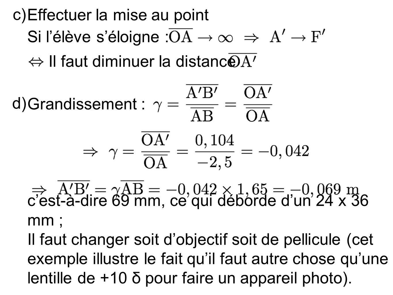 c) Effectuer la mise au point Si lélève séloigne : Il faut diminuer la distance d) Grandissement : cest-à-dire 69 mm, ce qui déborde dun 24 x 36 mm ;