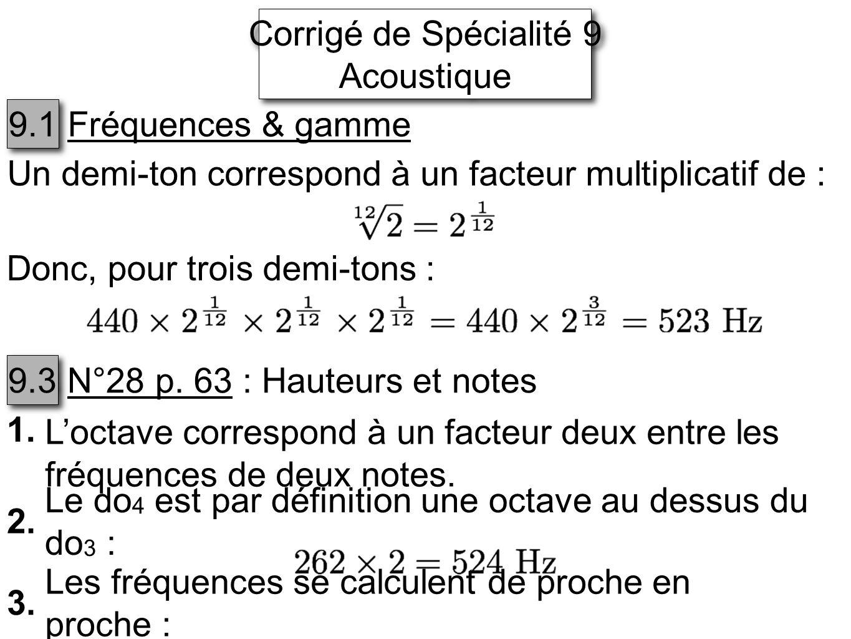 Corrigé de Spécialité 9 Acoustique Corrigé de Spécialité 9 Acoustique 9.1 Fréquences & gamme Un demi-ton correspond à un facteur multiplicatif de : Donc, pour trois demi-tons : 9.3 N°28 p.
