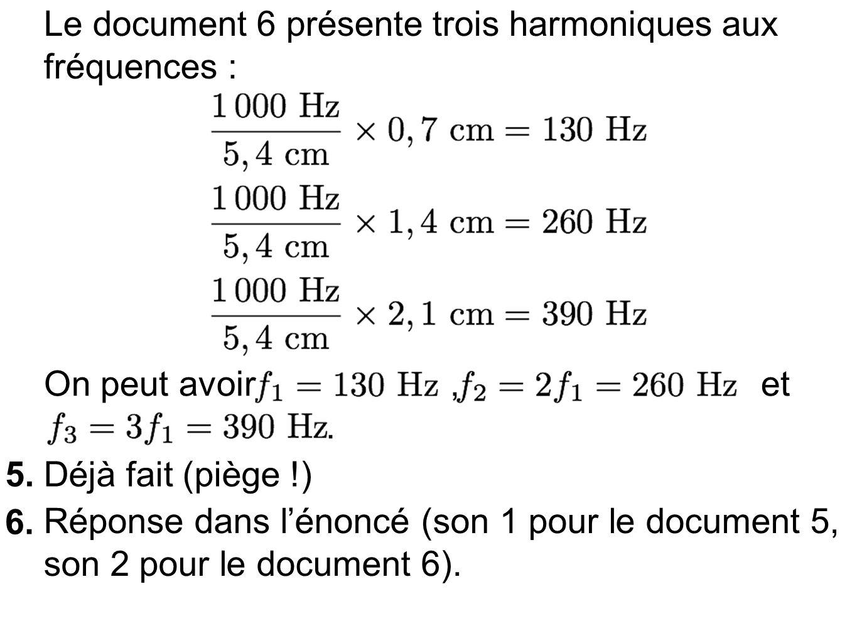 Le document 6 présente trois harmoniques aux fréquences : On peut avoir, et.