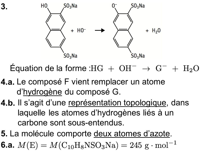 3. 4.a. Le composé F vient remplacer un atome dhydrogène du composé G.