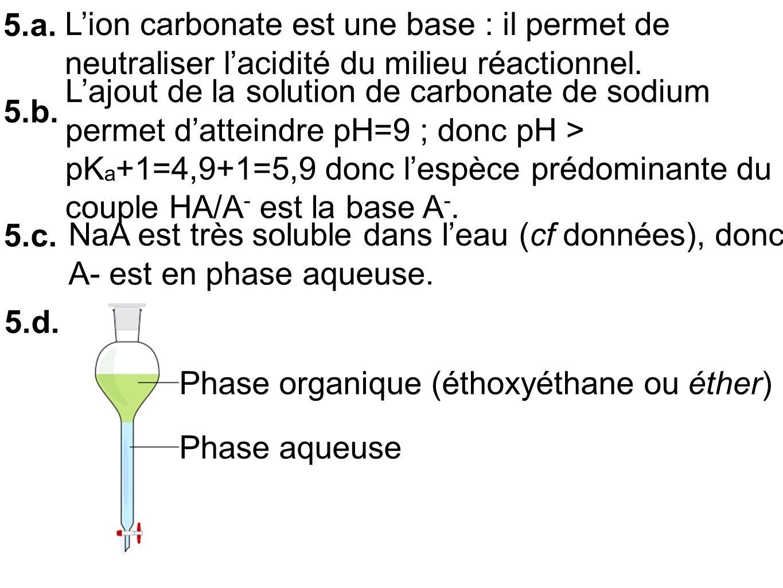 5.a. Lion carbonate est une base : il permet de neutraliser lacidité du milieu réactionnel.