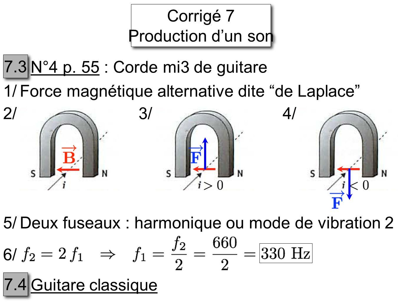 Corrigé 7 Production dun son Corrigé 7 Production dun son 7.3 N°4 p.