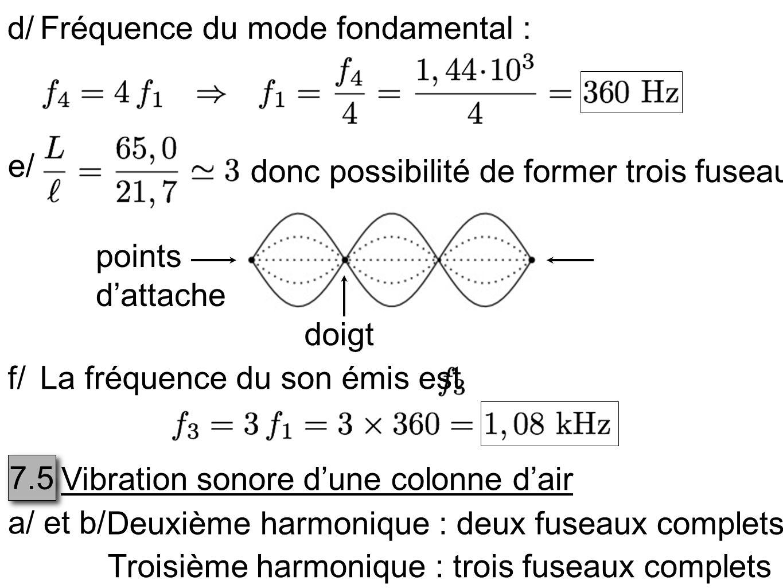 d/Fréquence du mode fondamental : e/ donc possibilité de former trois fuseaux points dattache doigt f/La fréquence du son émis est 7.5 Vibration sonor