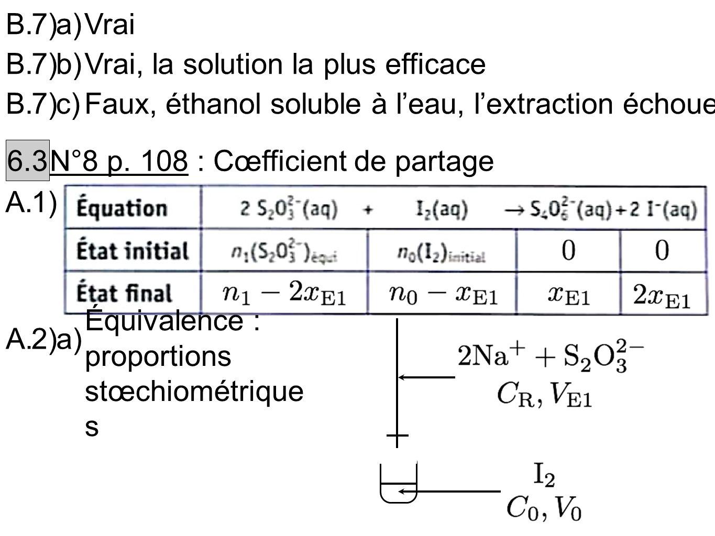 B.7)a)Vrai B.7)b)Vrai, la solution la plus efficace B.7)c)Faux, éthanol soluble à leau, lextraction échoue 6.3 N°8 p. 108 : Cœfficient de partage A.1)