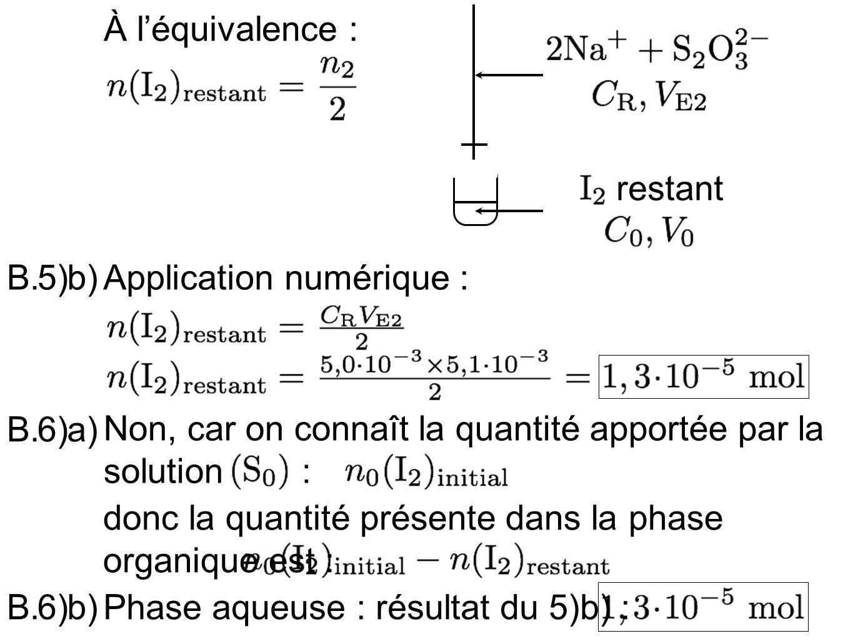 Phase organique : 7)a)B.Chaque phase a un volume de 25 mL : 7)b)B.Équation de la réaction dextraction : (sans unité)