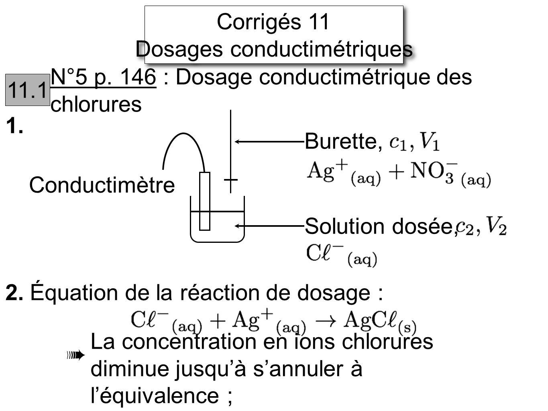 Corrigés 11 Dosages conductimétriques Corrigés 11 Dosages conductimétriques 11.1 N°5 p. 146 : Dosage conductimétrique des chlorures 1. Conductimètre 2