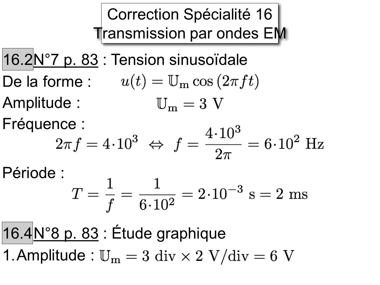Correction Spécialité 16 Transmission par ondes EM Correction Spécialité 16 Transmission par ondes EM 16.2 N°7 p.