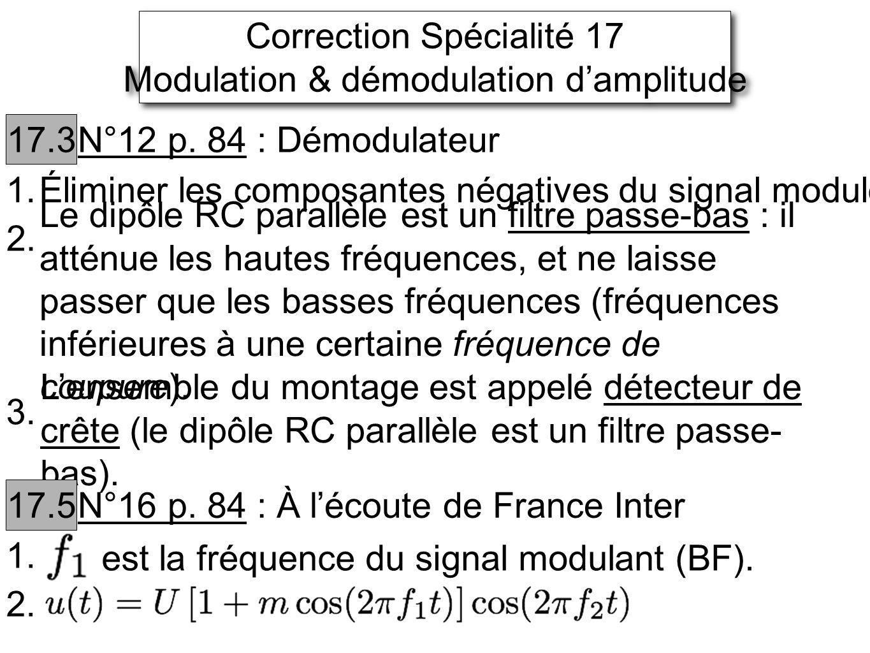 Correction Spécialité 17 Modulation & démodulation damplitude Correction Spécialité 17 Modulation & démodulation damplitude 17.3 N°12 p. 84 : Démodula