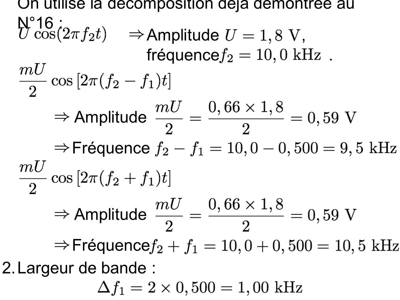 On utilise la décomposition déjà démontrée au N°16 : Amplitude, fréquence. Amplitude Fréquence Amplitude Fréquence 2.Largeur de bande :