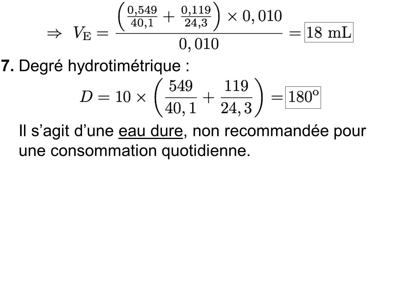 7.Degré hydrotimétrique : Il sagit dune eau dure, non recommandée pour une consommation quotidienne.