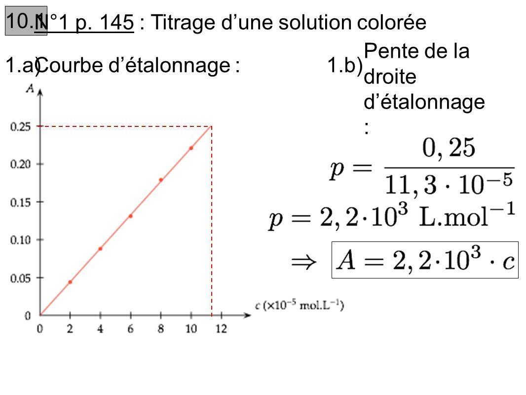 10.1 N°1 p. 145 : Titrage dune solution colorée 1.b) Pente de la droite détalonnage : 1.a)Courbe détalonnage :
