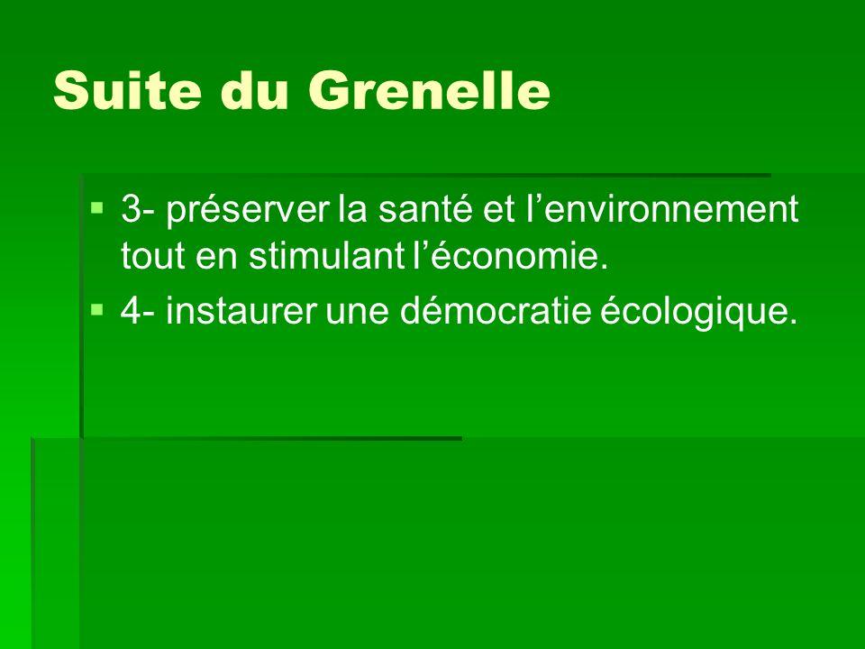 Suite du Grenelle 3- préserver la santé et lenvironnement tout en stimulant léconomie.